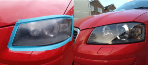 Audi Headlight Restoration before and after